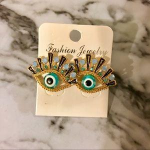 Jewelry - 3/$30 New Evil Eye black, gold, & blue earrings